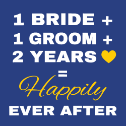 1 Bride + 1 Groom + 2 Years = Happily Ever After - Anniversary T-shirts