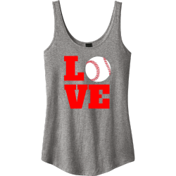 LOVE-BASEBALL Junior's 100% Cotton Tank Tops District Threads DT2500