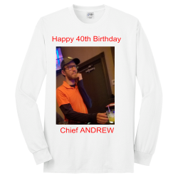 Happy-40th--Birthday-Chief-ANDREW Men's 50/50 Cotton/Polyester Long Sleeves Port And Company PC55LST