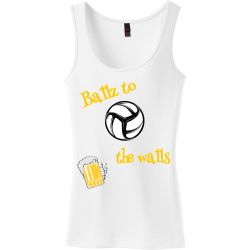 Ballz-to-the-walls Charlotte mcdile Junior's 100% Cotton Tank Tops District Threads DT235