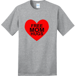 FREE-HUGS-MOM Adult 100% Cotton T-Shirts Port And Company PC150
