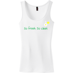 So-fresh.-----So-clean. Charlotte mcdile Junior's 100% Cotton Tank Tops District Threads DT235