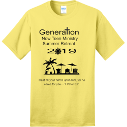 Genera------ion--Now-Teen-Ministry--Summer-Retreat----2--------19 Adult 100% Cotton T-Shirts Port And Company PC150