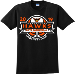 SPRUCE-CREEK-HAWKS-BOYS-BASKETBALL-RebuildTheNest-20-19 SA Adult 100% Cotton T-Shirts Gildan 2000