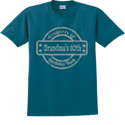 Property-of-Birthday-Bash--Grandmas-80th SA Adult 100% Cotton T-Shirts Gildan 2000