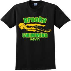 Brooke--SWIMMING-Kevin Family vacay Adult 100% Cotton T-Shirts Gildan 2000
