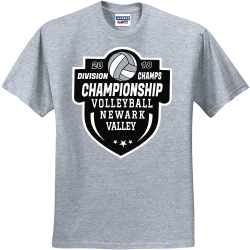 DIVISION-CHAMPS-20-18-CHAMPIONSHIP-VOLLEYBALL-NEWARK-VALLEY UP TO DATE AUDIO VIDEO Men's 50/50 Cotton/Polyester T-Shirts Jerzees 29M