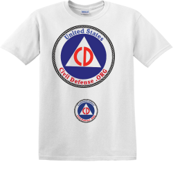 United-States-Civil-Defense-front-back---sleeves-communications 9 MINUTES Men's 100% Cotton T-Shirts Gildan 5000